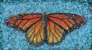 Painting: Monarch on Blue. Artist: Michael Glass