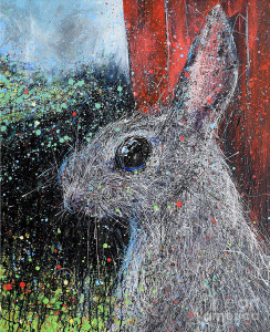Painting: Rabbit and Red Barn. Artist: Michael Glass
