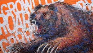 Painting: Bear on Orange. Artist: Michael Glass