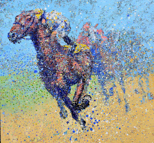 Painting: Horse Race. Artist: Michael Glass