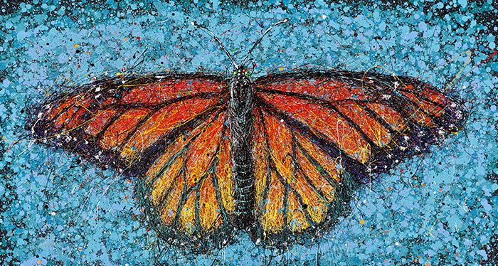 Monarch on Blue. Artist Michael Glass