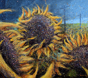 Sunflowers in Field. Artist Michael Glass