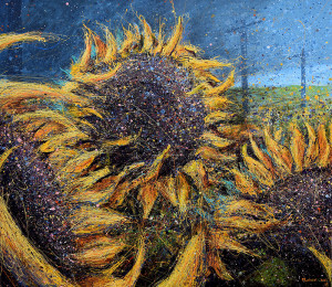 Painting: Sunflowers In Field. Artist: Michael Glass