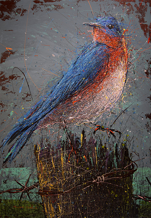 Blue Bird on Fence Post painting by Michael Glass