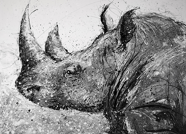 Rhino painting by Artist Michael Glass