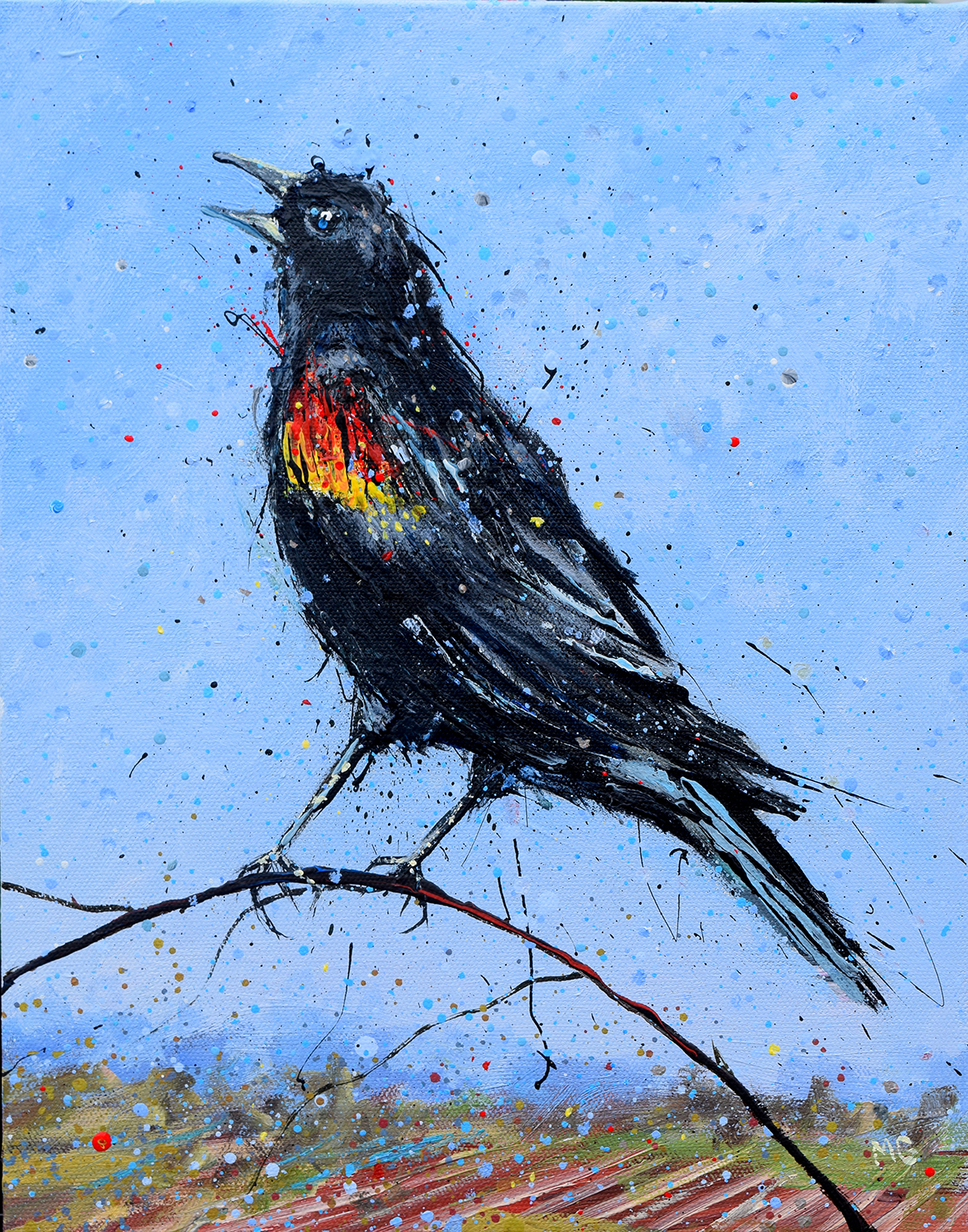He sings for Spring. Redwing Blackbird. Artist:Michael Glass