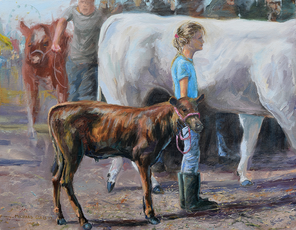 Girl with Calf. Artist: Michael Glass